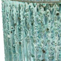 Tealight glas blå lykta glas ljus dekoration 8cm