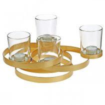 Advent ljusstake metall rund guld med 4 glas 34 × 26 × 18 cm