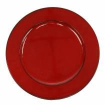 Dekorativ platta röd / svart Ø22cm