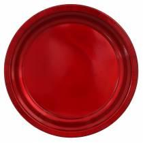 Dekorativ platta av metallröd med glasyreffekt Ø38cm