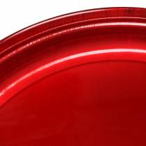 Dekorativ platta av metallröd med glasyreffekt Ø50cm