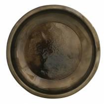 Dekorativ platta av metallbrons med glasyreffekt Ø23,5cm