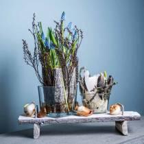 Bordsdekoration, bricka med fötter, träbricka, dekorativ bricka med trädbark 40cm