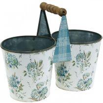 Dubbel blomkruka sommardekorationsplanter metall med handtag vintage look Ø11,5cm
