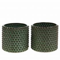Planter dekorativ kruka grön, brun Ø10cm H10cm uppsättning av 2