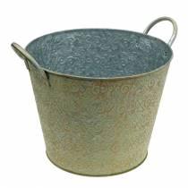 Skopa grön med handtag Ø30cm vintage look planteringsrost metall