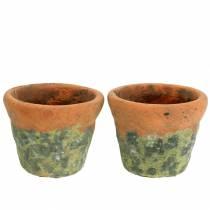 Växtpotta planterare vintage naturlig lera Ø14,5cm H12cm 2st