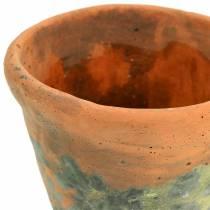 Växtpotta planterare vintage naturlig lera Ø11,5cm H9cm 3st