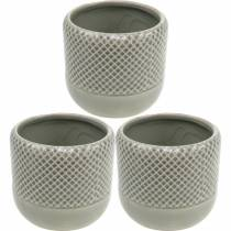 Keramikplanter, flätad mönsterpott, keramikpanna Ø13cm 3st