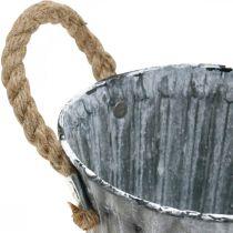 Växtkruka med handtag, metallkärl, planteringsverktyg i antik stil Ø12cm