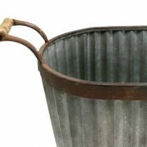 Planter med handtag oval metall 45/50 / 60 cm uppsättning av 3