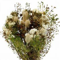 Bukett med torkade blommor med änggräs vita, gröna, bruna 125g torkade blommor