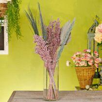 Torkade blommor exotiska vit-rosa mix torkning bukett set