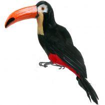 Dekorativ tukan med fjädrar svart L37cm