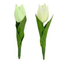 Vårdekoration, konstgjorda tulpaner, sidenblommor, dekorativa tulpaner grön / grädde 12st