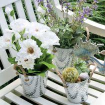 Växtkruka med blommönster, metallkruka för plantering, växtekruka med handtag Ø25,5 cm