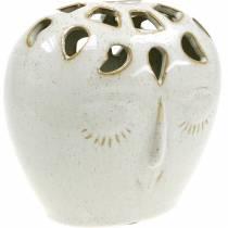 Keramisk vas med ansiktskräm, beige H13cm stengods look 1 st