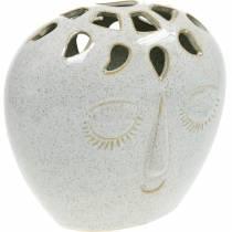 Vas med ansiktskräm, beige H18cm stengods look 1 st
