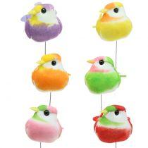 Fåglar på tråden färgglada 8cm 12st