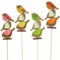 Vårdekorationsfåglar med träpinne blandade H10,5cm 12st