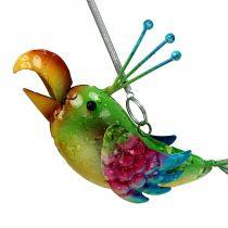Fågel att hänga grönt, rosa, blått 19,5 cm