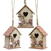 Fågelhus att hänga, vår, dekorativt fågelhus med kanin, påskdekoration 4st