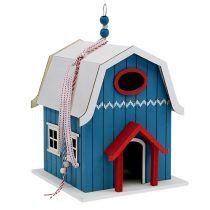 Fågelhus, blått dekorativt hus 21 cm x 30 cm