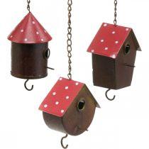 Dekorativ nestlåda, fågelhus att hänga, höst, fågelmatare, metalldekoration H14–12cm L34–37cm