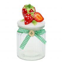 Förvaring burk med lock jordgubbe 14,5 cm