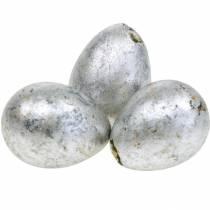 Vakteläggsdekoration silver tom 3cm påskdekoration 60st