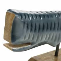 Trästyrval med grå bas, naturligt 26cm