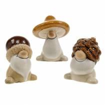 Keramikfigur set skogstomtar höstfrukter 6 - 6,3cm brun / gul 3st