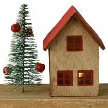 Julby med LED-belysning natur, rött trä 40 × 10,5 × 7 cm