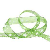 Julbandgrönt med stjärnmönster 25mm 20m