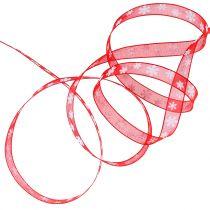 Julband rött med snöflinga 10mm 20m