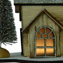 Julhus med LED-belysning natur, glitterträ 20 × 17 × 15 cm