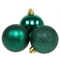 Julboll smaragdgrön mix Ø6cm 10st