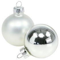 Julbollglas Ø6cm silvermix 24st