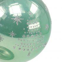 Julboll med glitter eukalyptus Ø8cm 6st