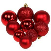 Julbollmix blandad röd Ø3.5cm - Ø5.5cm 30st