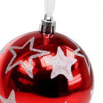 Julgranskulor med stjärnor i röda 2 st Ø8cm