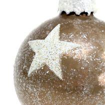 Julkulglas med stjärnmönster ljusbrun Ø6cm 6st