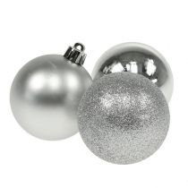 Julboll plast silver 6cm 10st