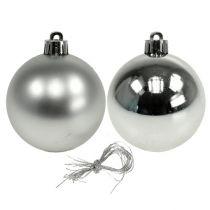Julbollplast Ø6cm silvermix 12st