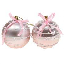 Julboll rosa med rosett Ø8cm 2st