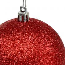 Julgranbollar av plaströd, vit Ø8cm 3st