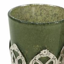 Lykta glas metall dekor grön lila Ø5,5cm H5,5cm 4st