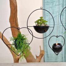 Lykta hjärtmetall 38cm värmeljushållare för hängning med glas