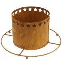 Lykta med stjärnor, advent, kranshållare av metall, juldekoration rostfritt stål Ø25cm