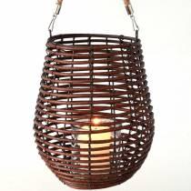 Dekorativ lykta, ljusdekoration med handtag, lykta i korgen Ø23cm H27cm